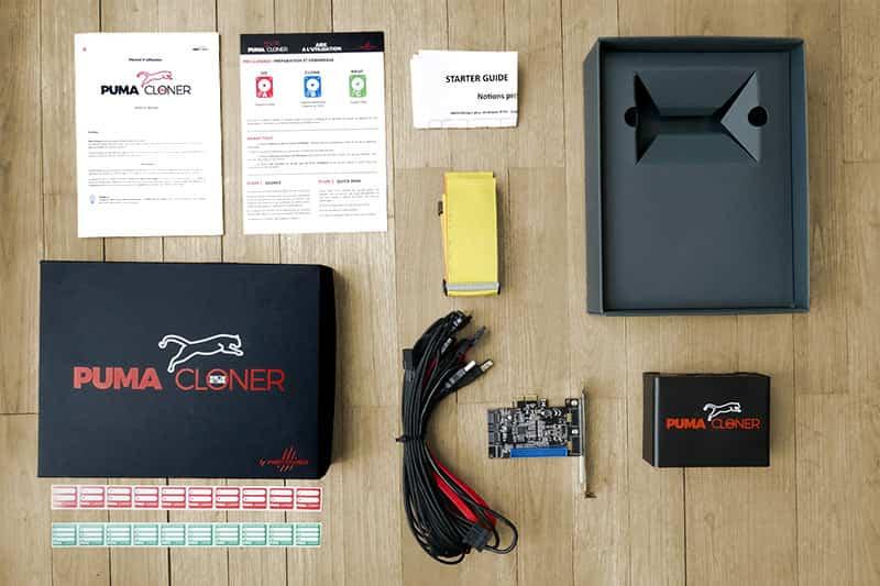Solution logicielle et matérielle qui comprend un boîtier d'alimentation avec câbles fournis, nappe IDE, câble SATA, câble USB et carte contrôleur